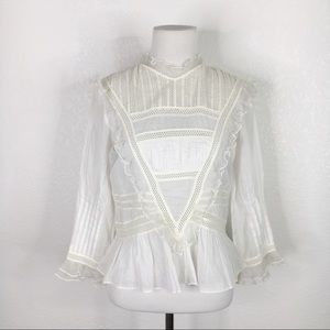 Doen Ivory Ruffle Lace Button Back Peasant Top